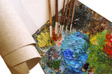 set for painting - canvas, palette, paintbrushes poster