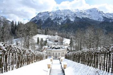 Linderhof Castle in winter