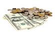 US dollar bills and european coins