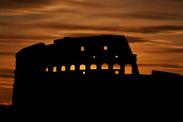 Colosseum Rome at sunset illustration