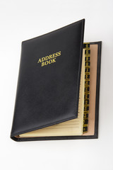 Black leather address book with A-Z tabs