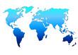 Planisphère : dégradé bleu