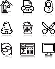 Black contour web icons, set 7