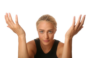Woman Emotional with Raised Hands