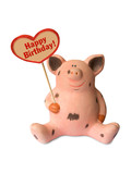 Funny pig with heart Happy birthday poster
