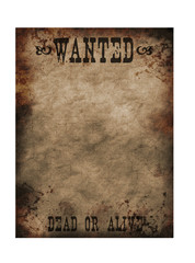 Sheriff old notice paper for bounty hunters