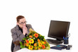 Secretary day, flowers on desk