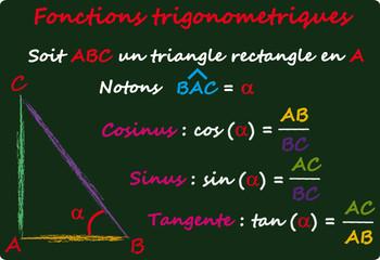 Fonctions Trigonometriques sur tableau noir