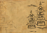 Ancient Japanese houses, drawn by ink on a rice paper poster
