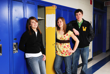 Teenage Students at School Lockers