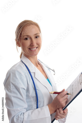 Smiling Dioctor with  Health Evaluation