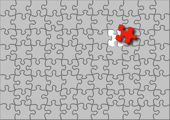 Puzzle illustration with one red element