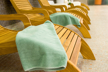 Sunbeds in the fitness with tranquil towel