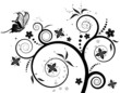 Flower background with butterfly, element for design, vector