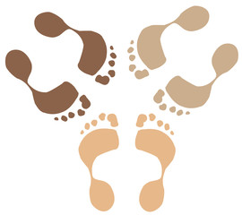 footprints of ethnic people or team - diversity