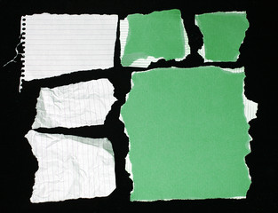 Assorted green and white paper textures