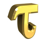 tau symbol in gold (3d)