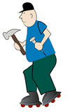 cartoon carpenter in a hurry to do his repairs  poster
