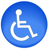 blue button or icon with handicap symbol of accessibility  poster