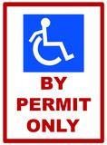 handicap parking by permit only sign  poster