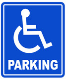 blue handicap parking or wheelchair parking space sign  poster