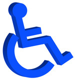blue handicap or wheelchair access symbol - 3D poster