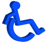 3D handicap or wheelchair accessible symbol on the move poster