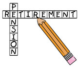 pencil filling in crossword - pension and retirement  poster