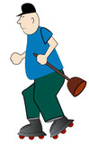 cartoon of man plummer hurrying on rollerskates  poster