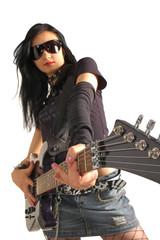 Rock girl holding guitar