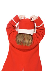 Back of the child in red