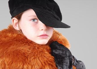 Young Girl in Cap and Fancy Coat