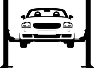 Vector illustration of a car on a hydraulic ramp