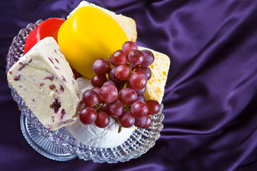 Cheese and grape selection