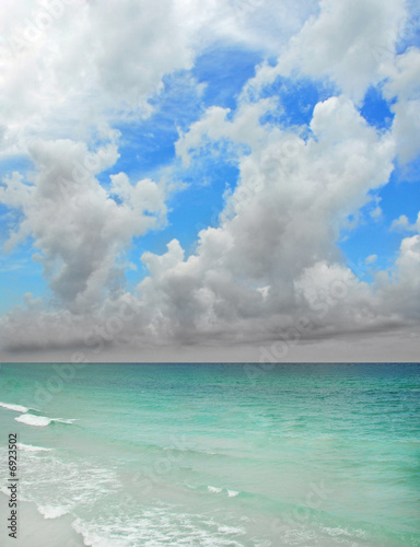 Stormy Sky Over Clear Ocean
