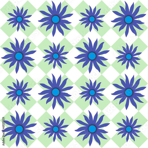 Blue Black eyed Susan on Plaid
