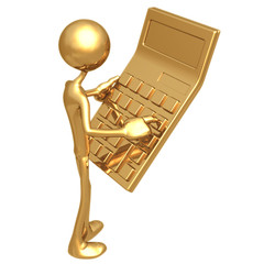 Accountant With Giant Golden Calculator