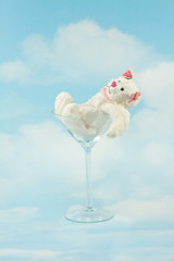 Tipsy Bear in Martini Glass on the Sky