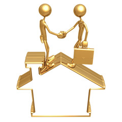 Blank Golden Home Symbol Realty Handshake