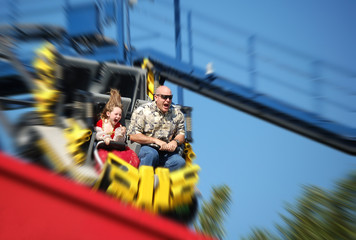 Father and Daughter on Rollercoaster