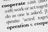 Cooperate word dictionary definition poster