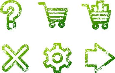 Green grunge e-shop contour icons V2