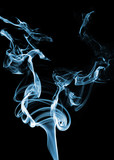 interesting chaotic blue smoke on a black background poster