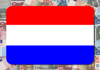 Dutch flag with euro notes illustration