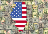 Illinois with flag and dollars