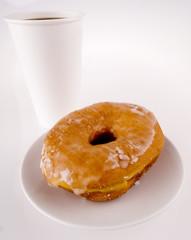 Glazed Donut And Coffee (take-away)