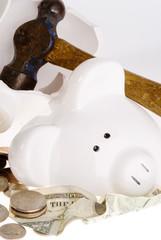 Broken Piggy Bank, American Currency
