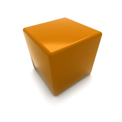 3D rendering of a orange cube on a white background