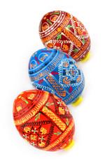 three russian tradition easter eggs diagonally
