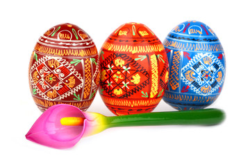 three russian tradition easter eggs abreast and violet orchid